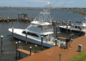 Four Reel is docked at Virginia Beach fishing center.